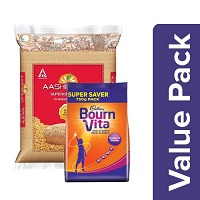 Combo Bournvita Pro Health Chocolate Drink 500 Gm Aashirvaad Atta Whole Wheat 5 Kg